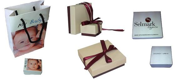 Cajas con bolsa a juego  -  Cajas con o sin lazo  -  Cajas impresas
