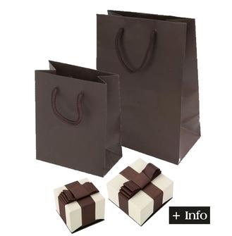 Caja con lazo marron y crema. Serie Deluxe