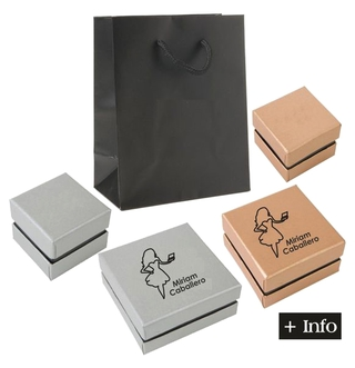 Cajas de carton plata y negro. Serie Lia Plata